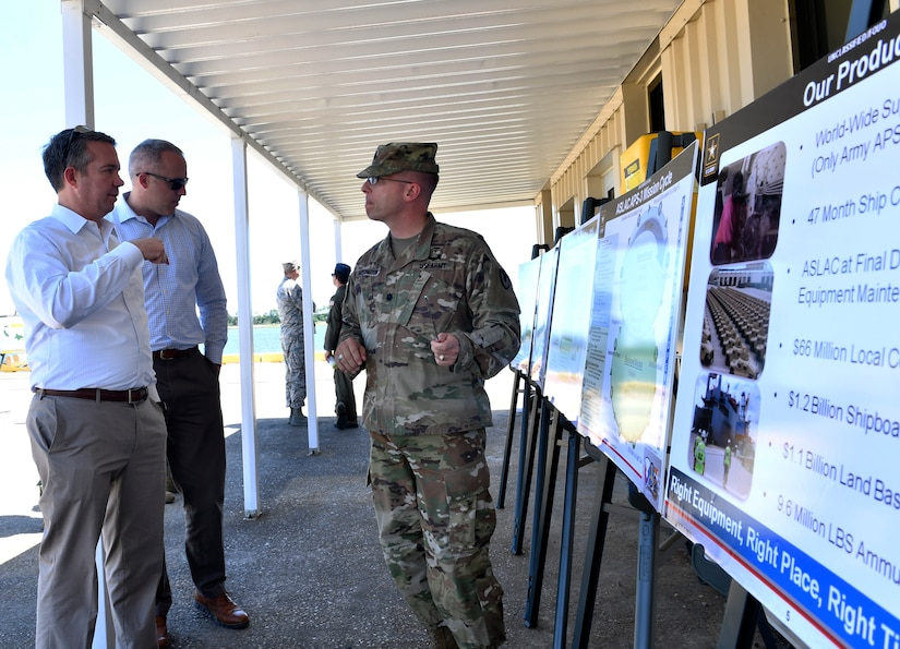 U.S. Army Lt. Col. Kenneth A. Hoisington, U.S. Army Strategic Logistics Activity Charleston (ASLAC) director, briefs Rick Trimble, left, military legislative assistant to Senator Tim Scott, on the role of ASLAC during a tour of Joint Base Charleston May 2, 2018.