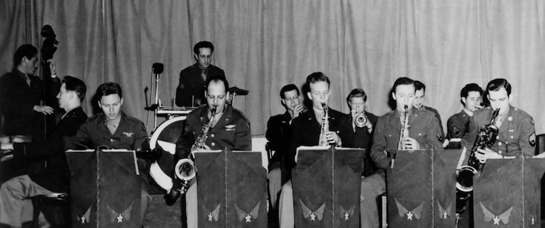 Harding Zumwalt (back center) performs with the Thunderbolt Dance Band in 1943.  (Courtesy Zumwalt family archives)