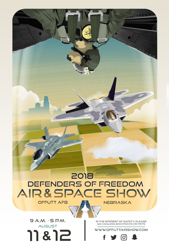 "After a one-year hiatus, Offutt's ""Defenders of Freedom Open House and Air and Space Show"" is scheduled to make its return August 11-12, 2018. The open house and air show has been a regularly-scheduled community event since 1972 and, as one of the only instances the base is ever open to the public, attracts about 200,000 spectators each iteration.The 2018 event will be co-headlined by the F-22 Raptor and F-35A Lightning II demonstration teams. More information on the 2018 Defenders of Freedom Open House and Air Show will be posted as it becomes available to www.offuttairshow.com and on the event-specific Facebook page found by searching @theoffuttairshow."