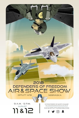 """After a one-year hiatus, Offutt's """"Defenders of Freedom Open House and Air and Space Show"""" is scheduled to make its return August 11-12, 2018. The open house and air show has been a regularly-scheduled community event since 1972 and, as one of the only instances the base is ever open to the public, attracts about 200,000 spectators each iteration.The 2018 event will be co-headlined by the F-22 Raptor and F-35A Lightning II demonstration teams. More information on the 2018 Defenders of Freedom Open House and Air Show will be posted as it becomes available to www.offuttairshow.com and on the event-specific Facebook page found by searching @theoffuttairshow."""
