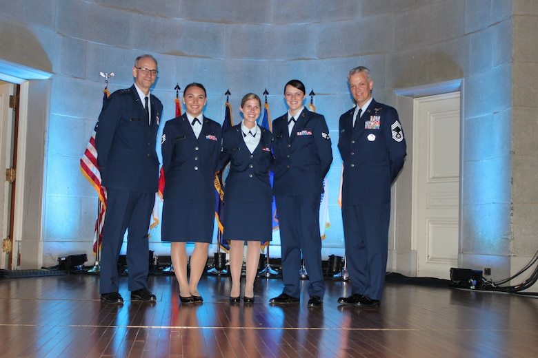(From left) Lt. Gen. Mark Ediger, U.S. Air Force Surgeon General, Staff Sgt. Alyson Venegas, Senior Airman Linda Wilson, and Senior Airman Logan Bennett, 99th Medical Group Aerospace Medical Technicians, and Chief Master Sgt. George Cum, chief, Medical Enlisted Force, Office of the Air Force Surgeon General, at the 2018 Heroes of Military Medicine Awards in Washington, D.C., May 3, 2018. The three Airmen from the 99th were honored for the their response to the deadly 2017 mass shooting in Las Vegas, when they heroically risked their lives to save fellow concert attendees. (U.S. Air Force photo by Karina Luis)