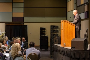 Defense Secretary James N. Mattis speaks at the Tri-Citian of the Year awards ceremony in Kennewick, Wash.