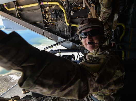 Secretary of the Air Force Heather Wilson rides a CV-22 Osprey over the Emerald Coast during a familiarization flight on May 3, 2018, at Hurlburt Field, Fla. Wilson visited Air Commandos, talked with senior leadership, engaged local community leaders and immersed herself in Air Force Special Operations Command mission capabilities during a visit to Hurlburt Field from May 2-4. (U.S. Air Force photo by Staff Sgt. Ryan Conroy)