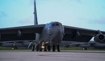 A U.S. Air Force B-52H Stratofortress bomber, deployed from Barksdale Air Force Base, Louisiana, taxis for take off prior to a routine training mission at Andersen Air Force Base, Guam, May 4, 2018.