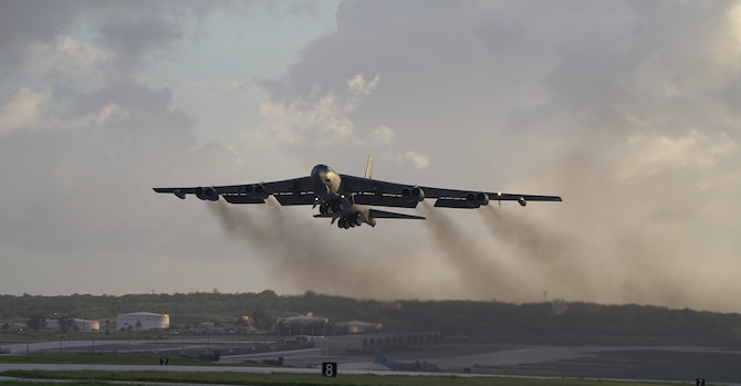 A U.S. Air Force B-52H Stratofortress bomber, deployed from Barksdale Air Force Base, Louisiana, takes off from Andersen Air Force Base, Guam, on a routine training mission May 4, 2018.