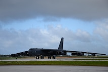 A U.S. Air Force B-52H Stratofortress bomber, deployed from Barksdale Air Force Base, Louisiana, taxis at Andersen Air Force Base, Guam, after conducting a routine training mission May 2, 2018.