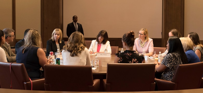Second Lady Karen Pence speaks with military spouses from all branches about experiences and challenges they face as wives and husbands of service members, Friday, May 4, 2018, at the George W. Bush Presidential Center, Dallas, Texas. Pence has visited other locations to speak with military spouses, including Luke Air Force Base, Arizona and Yokota Air Base, Japan. (U.S. Air Force photos by Tech. Sgt. Melissa Harvey)