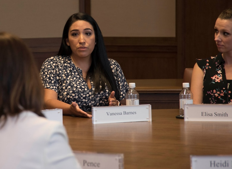 Mrs. Vanessa Barnes, wife of a U.S. Sailor, shares her experiences with Second Lady Karen Pence during a round table meeting with military spouses from all branches, Friday, May 4, 2018, at the George W. Bush Presidential Center, Dallas, Texas. Pence has visited other locations to speak with military spouses, including Luke Air Force Base, Arizona and Yokota Air Base, Japan. (U.S. Air Force photos by Tech. Sgt. Melissa Harvey)