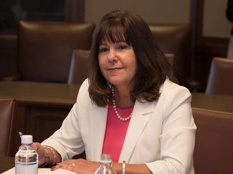 Second Lady Karen Pence listens as military spouses share about the challenges they face as wives and husbands of service members, Friday, May 4, 2018, at the George W. Bush Presidential Center, Dallas, Texas. Pence has visited other locations to speak with military spouses, including Luke Air Force Base, Arizona and Yokota Air Force Base, Japan. (U.S. Air Force photos by Tech. Sgt. Melissa Harvey)