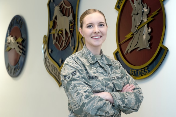 Airman 1st Class Victoria Gossard, an all-source intelligence analyst for the 167th Airlift Wing is the Airman Spotlight for May 2018. Her family has a long legacy of military service including 142 combined years served at the 167th Airlift Wing. (U.S. Air National Guard photo by Senior Master Sgt. Emily Beightol-Deyerle)