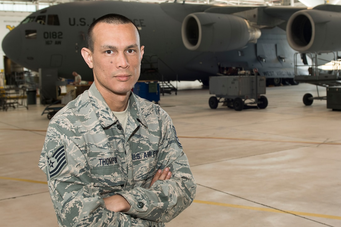 Tech. Sgt. Michael Thompson, an electronic systems mechanic for the 167th Maintenance Group, credits a Vietnam Veteran with helping his family and inspiring him to join the military. (U.S. Air National Guard photo by Senior Master Sgt. Emily Beightol-Deyerle)
