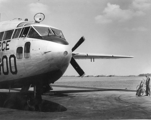 "The 96th Troop Carrier Squadron flies C-119 ""Flying Boxcars"" from Minneapolis from 1957-1970. (934 AW Historical Photo)"