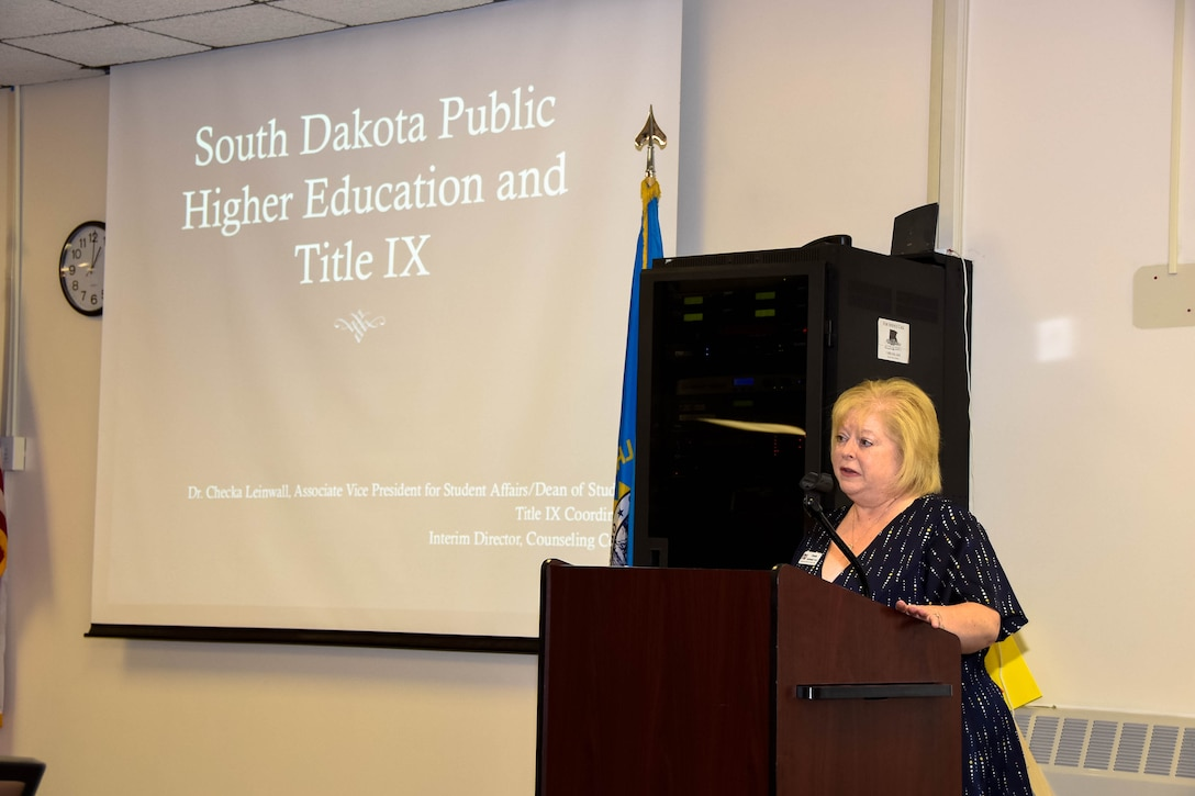 """Francesca """"Checka"""" Leinwall, Northern State University associate vice president for student affairs, to spoke about the Title IX program to members of the 114th Fighter Wing on May 5, 2018, Sioux Falls, S.D."""
