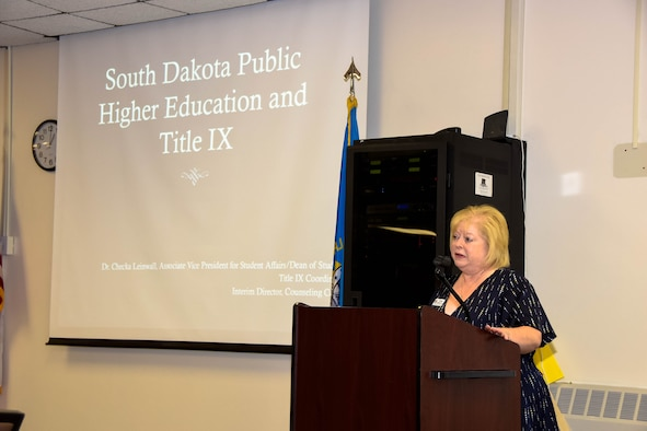 "Francesca ""Checka"" Leinwall, Northern State University associate vice president for student affairs, to spoke about the Title IX program to members of the 114th Fighter Wing on May 5, 2018, Sioux Falls, S.D."