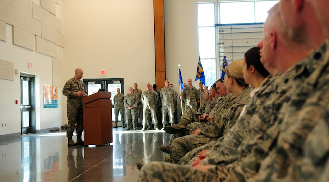 Chief Master Sgt. Brian Waggoner speaks at a May 2018 commander's call of the 194th Wing