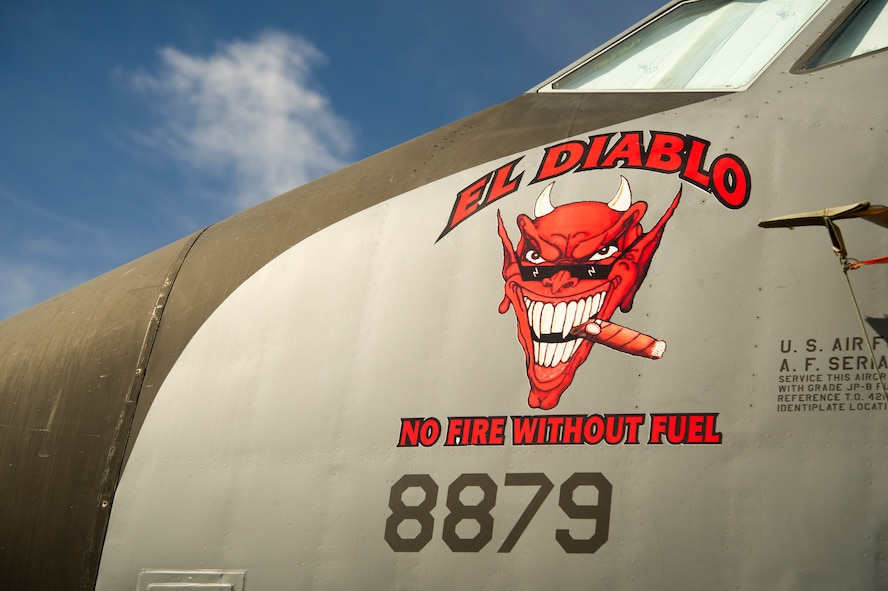 """The """"El Diablo"""" nose art is displayed on a KC-135 Stratotanker belonging to the 940th Air Refueling Wing May 6 at Beale Air Force Base, California."""