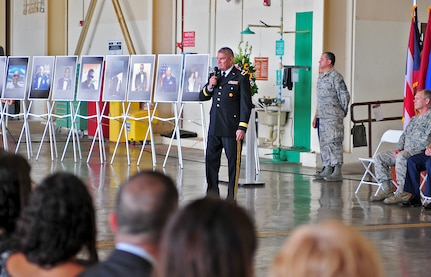 "Puerto Rico's adjutant general, Brig. Gen. Isobel Rivera, says, ""It is important to take the time to reflect and internalize the difficult moments we are living,"" at the service May 2, 2018, in San Juan to honor the Airmen killed in a May 2 plane crash."