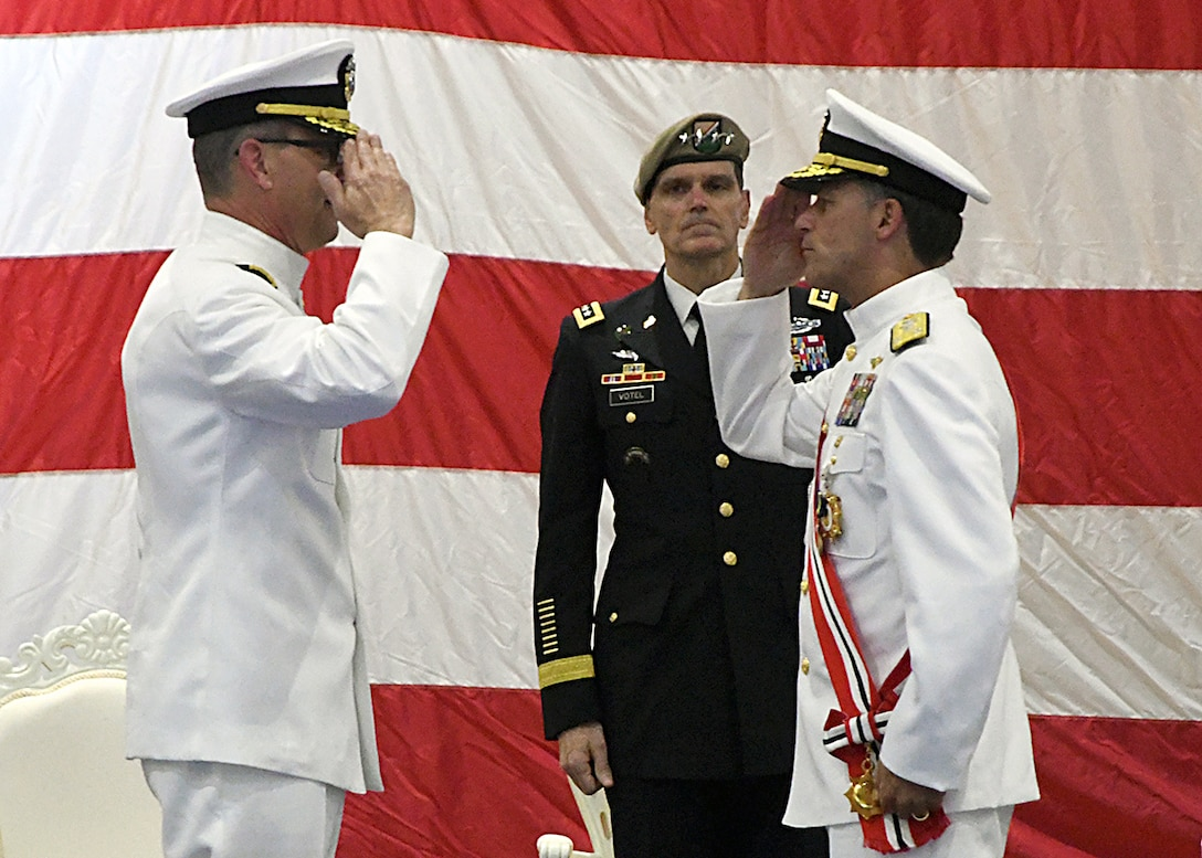 MANAMA, Bahrain (May 6, 2018) Vice Adm. Scott Stearney (left) relieves Vice Adm. John Aquilino (right) as commander, U.S. Naval Forces Central Command, U.S. 5th Fleet, Combined Maritime Forces during a change of command ceremony held aboard Naval Support Activity, Bahrain. U.S. 5th Fleet conducts maritime security operations to ensure the free flow of commerce, build and expand maritime partnerships and deter potential adversaries in one of the world's most critical maritime corridors. (U.S. Navy photo by Mass Communication Specialist 1st Class Bryan Neal Blair/Released)