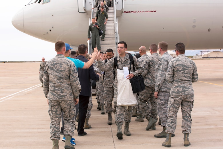 Airmen from the active duty 388th Fighter Wing and Reserve 419th Fighter Wing return to Hill Air Force Base, Utah, after a six-month deployment to Kadena Air Base, Japan.