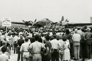 Memphis Belle at Patterson Field (now Wright-Patterson AFB) in July 1943.