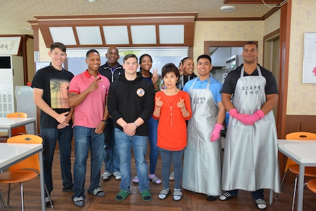 POHANG, South Korea –U.S. Marine Corps Forces Korea, Marines assist the Ocheon Soup Kitchen here, April 28. The Marines helped feed senior citizens of low income families from the Ocheon community as well as performed custodial duties at the institution. (Courtesy photo/Released)