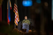 Armed Forces of the Philippines Lt. Gen. Carlito G. Galvez Jr., chief of staff, Armed Forces of the Philippines, delivers his remarks during the Exercise Balikatan opening ceremony held at Tejeros Hall, Camp General Emilio Aguinaldo, Quezon City, Manila, Philippines, May 7, 2018. The ceremony represented the official commencement of Exercise Balikatan and the continued partnership between the United States and the Republic of the Philippines. Exercise Balikatan, in its 34th iteration, is an annual U.S.-Philippine military training focused on a variety of missions, including humanitarian assistance and disaster relief, counterterrorism, and other combined military operations held from May 7 to May 18.