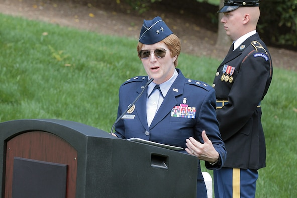 U.S. Air Force Maj. Gen. Dorothy Hogg, Air Force Deputy Surgeon General and chief, Air Force Nurse Corps, delivers keynote remarks at Arlington National Cemetery, Va., during a wreath laying at the Nurses Memorial for National Nurses and Medical Technicians Week, May 7, 2018. (Courtesy photo by Defense Health Agency Communications Division)
