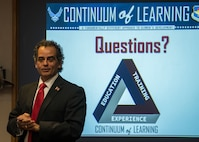 Masoud Rasti, Headquarters Air Education and Training Command Force Development expert briefs 58th Special Operations Wing senior leaders about the Continuum of Learning at Kirtland Air Force Base, N.M., April 25. The Continuum of Learning initiative is a shift to better focus how Airmen learn by integrating education, training and experience in ways that allow them to learn anytime, anywhere throughout their careers. The end goal is to create a culture of lifelong learning. (U.S. Air Force photo by Staff Sgt. J.D. Strong II)