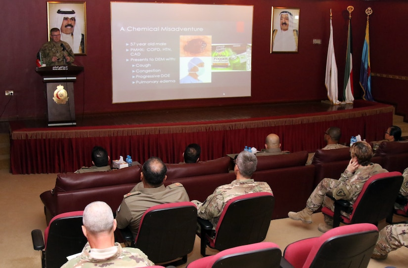 Lt. Col. Dr. Gregory Johnston, division surgeon, 28th Infantry Division, Pa. Army National Guard, speaks about the history, effects and treatment of nerve agents May 3, 2018 at the North Military Medical Complex. Johnston's lecture was part of an ongoing monthly medical exchange program.