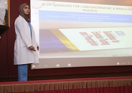 Dr. Hessa Alkandari, a physiotherapist with Kuwait Military Hospital, speaks about the global Exercise is Medicine initiative May 3, 2018 at the North Military Medical Complex. Her presentation was part of the latest in a series of monthly medical exchanges between U.S. Army providers and doctors at the complex.