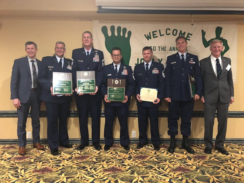 Thirty-three 920th Rescue Wing Reserve Citizen Airmen are being honored Saturday, May 5 with the 2017 Jolly Green Association Rescue Mission of the Year Award for their actions July 7, 2017 in saving two German sailors stranded in the Atlantic Ocean approximately 500 miles off Cape Canaveral, Florida. The unique and intricate mission, which involved more than 30 hours of collective flying between the unit's HH-60 Pave Hawks and HC-130N Kings, eight air refuelings transferring 16,600 pounds of fuel, a precisely executed open-ocean rescue insertion, and a highly technical nighttime shipboard patient exfil resulting in two lives saved, led to it being deemed the most significant rescue mission of the year