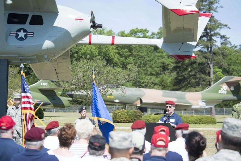 U.S. Army retired Lt. Col. Ray Rhodes, Society of the Vietnamese Airborne president, speaks at the O-2 Skymaster static display rededication ceremony at Shaw Air Force Base, S.C., May 4, 2018.