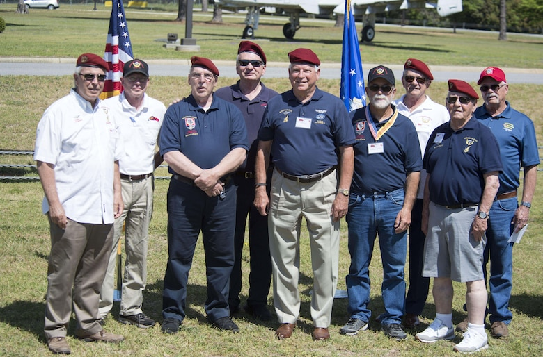 Members of the Society of the Vietnamese Airborne stand together at Shaw Air Force Base, S.C., May 4, 2018.
