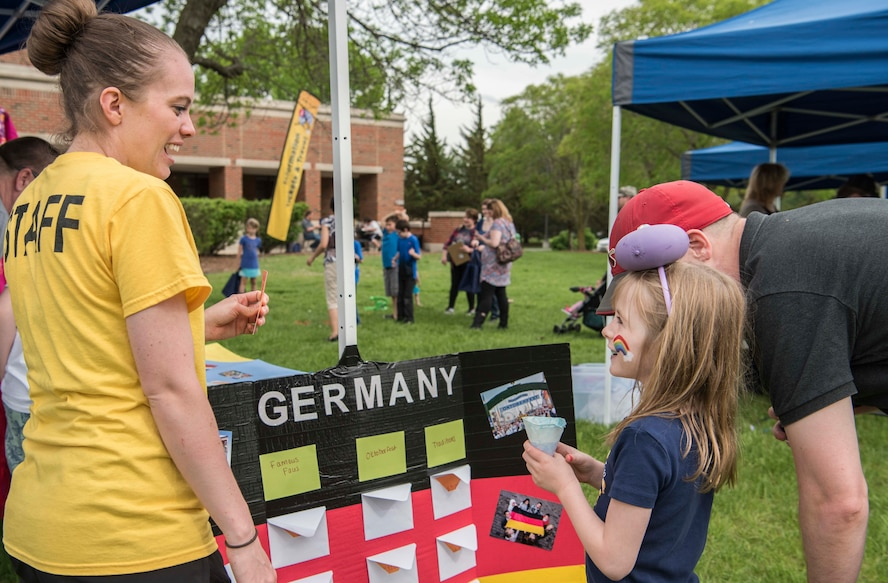 The 375th Air Mobility Wing hosted its annual Spring Fling and Diversity Day event May 4, 2018 at Scott Air Force Base, Illinois. The Spring Fling portion featured live music by the Band of Mid-America's Starlifter, games, a slingshot competition, a rock climbing wall and bounce houses. In honor of Diversity Day, units from the wing put together booths that showcased the diverse cultures, backgrounds, families and experiences of their members. (U.S. Air Force photos by Senior Airman Melissa Estevez)