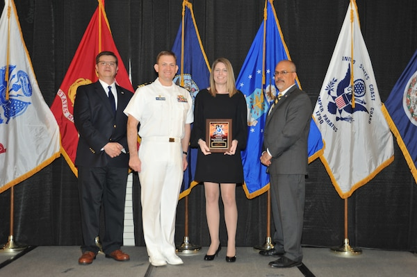 IMAGE: Jennifer Greene is presented the Award of Excellence for Systems Engineering and Integration at Naval Surface Warfare Center Dahlgren Division's annual awards ceremony, Apr. 26 at the Fredericksburg Expo and Conference Center.