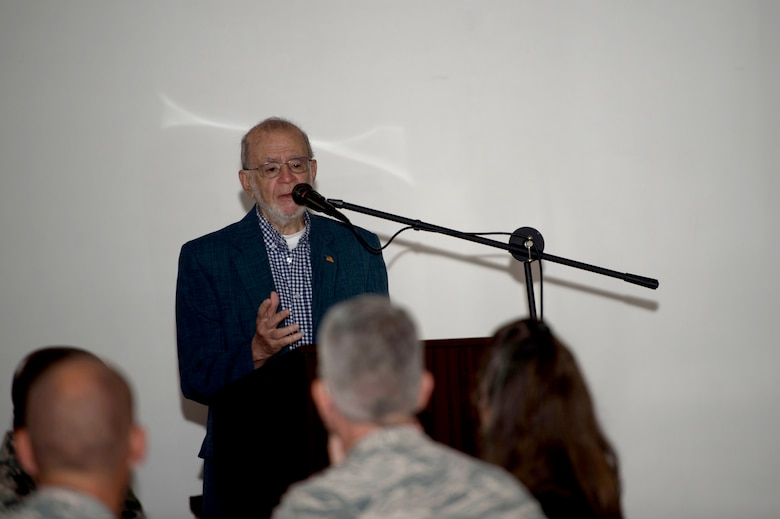 Mr. Arthur Sheridan speaks at the annual Holocaust Remembrance Day event May 3, 2018 at MacDill Air Force Base, Fla.