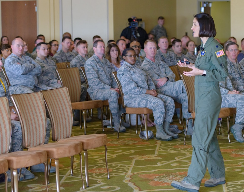 U.S. Air Force Lt. Col. Jannell MacAulay, 58th Special Operations Wing mindfulness and human performance consultant, Kirtland Air Force Base, New Mexico, gives a presentation on mindful leadership in the Bay Breeze Event Center at Keesler Air Force Base, Mississippi, May 1, 2018. MacAulay provided guidance to Keesler personnel to assist in their growth as managers into effective, adaptive and agile leaders while managing the stressors of everyday life. (U.S. Air force photo by Andre' Askew)
