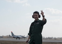 Japan Air Self-Defense Force 1st Lt. Yoshinobu Sasaki, a 3rd Fighter Squadron F-2 pilot, poses for a photo during dissimilar air combat tactics operations at Misawa Air Base, Japan, April 12, 2018. Sharing talents and abilities during DACT operations is an area of common interest for both JASDF and U.S. forces members. (U.S. Air Force photo by Airman 1st Class Collette Brooks)
