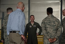 U.S. Air Force Brig. Gen. Jeffrey C. Bozard, the 5th Air Force vice commander, speaks with Team Misawa members during his tour at Misawa Air Base, Japan, May 1, 2018. During his tour, he listened to Team Misawa service members and their stories while learning what makes their career fields so unique to 5th AF and the Indo-Pacific as a whole. (U.S. Air Force photo by Airman 1st Class Collette Brooks)