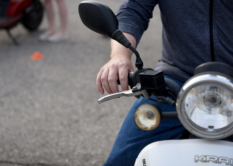 The scooter safety course is offered to provide riders with basic skills when driving around base, as well as stopping quickly and maneuvering on a round-a-bout.