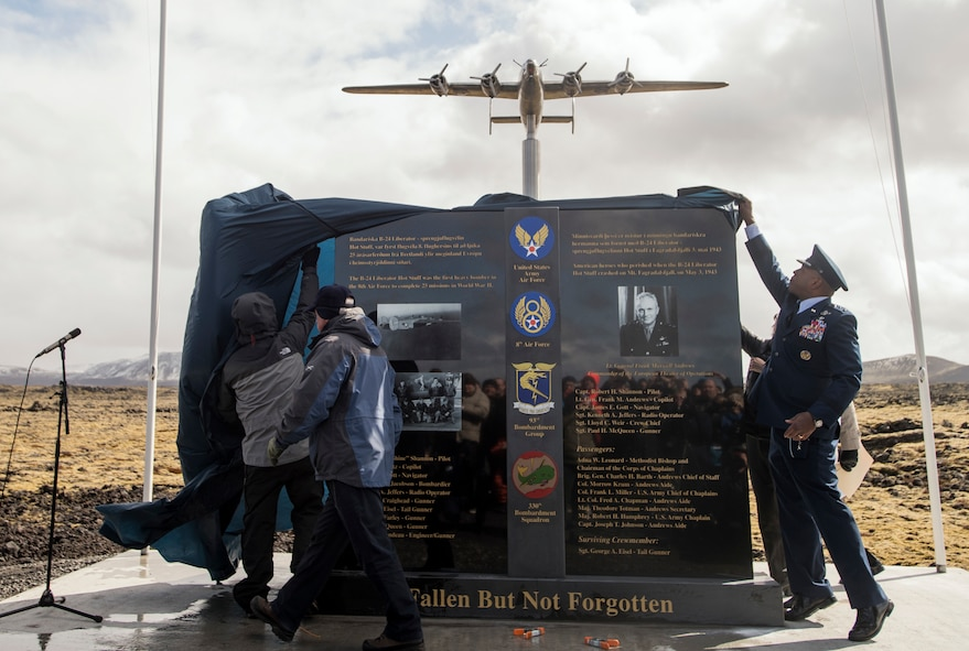 Keflavick, Iceland (May 3, 2018)  U.S. and Iceland honoured the crew of B-52 Liberator 'Hot Stuff' monument dedication ceremony on the 75th anniversary of it crashing in Iceland during a heavy storm.  All but one passenger on board were killed to include famous WW II Lt. Gen. Frank Maxwell Andrews.   As two of the founding nations of NATO, Iceland and the U.S. continue their long and enduring relationship of seamless cooperation as allies.  (U.S. Navy photo by MC3 (SW/AW) Evan Parker)