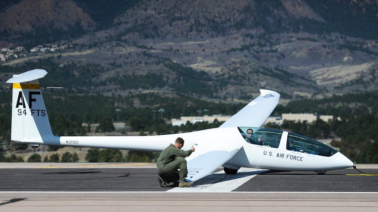 The 94th Flying Training Squadron provides orientation flight to eight wounded warriors May 8, 2018, at the Air Force Academy, Colo. The training squadron conducts more than 15,000 training and competition glider sorties annually, focused on developing officership, leadership and character of more than 4,000 Academy cadets. (U.S. Air Force photo/Master Sgt. Julius Delos Reyes)