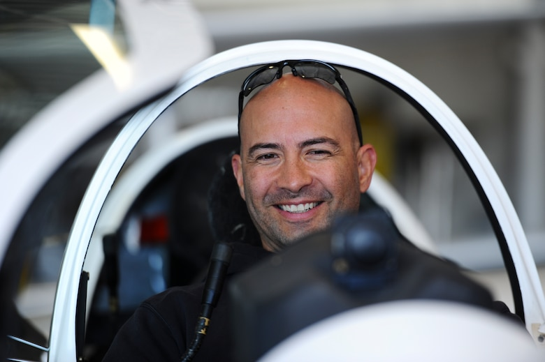 Donald Malloy, a veteran Army captain, sits on a glider's passenger seat prior to an orientation flight for the wounded warriors May 8, 2018, at the Air Force Academy, Colo. The 94th Flying Training Squadron partnered with the Soaring Eagle Foundation and Wounded Warrior Program to fly eight veterans aboard the Academy's glider. (U.S. Air Force photo/Master Sgt. Julius Delos Reyes)