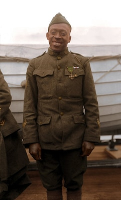 New York Army National Guard Sgt. Henry Johnson, circa 1919. Johnson was part of the 369th Infantry Regiment, the Hellfighters from Harlem, who fought under French command in WWI as an all-black combat unit. Johnson received the French Croix de Guerre for his actions in defending his outpost and his comrade Needham Roberts on the night of May 15, 1918.