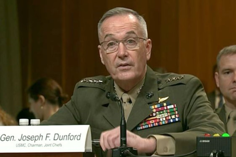 Marine Corps Gen. Joe Dunford, chairman of the Joint Chiefs of Staff, testifies on Capitol Hill.