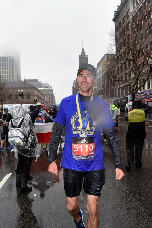Arizona Air National Guard Master Sgt. Dan Martin, 161st Logistics Readiness Squadron NCO in charge of fuels operations, poses for a photo while wearing his finisher medal after the 122nd annual Boston Marathon April 16, 2018. Martin completed this year's Boston Marathon in 3 hours, 25 minutes, 22 seconds. (U.S. Air National Guard/Courtesy Photo)