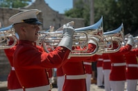 "Corporal Cody Hutto, uppers section, ""The Commandant's Own"" U.S. Marine Drum & Bugle Corps, performs musical ballads during a Battle Color Ceremony for the San Antonio Tricentennial Military Appreciation Day at the Alamo, San Antonio, Texas, May 6, 2018. The Military Appreciation Day was held in San Antonio to salute military history with a weekend of programming including special events, ceremonies and living history demonstrations."
