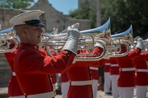"""Corporal Cody Hutto, uppers section, """"The Commandant's Own"""" U.S. Marine Drum & Bugle Corps, performs musical ballads during a Battle Color Ceremony for the San Antonio Tricentennial Military Appreciation Day at the Alamo, San Antonio, Texas, May 6, 2018. The Military Appreciation Day was held in San Antonio to salute military history with a weekend of programming including special events, ceremonies and living history demonstrations."""