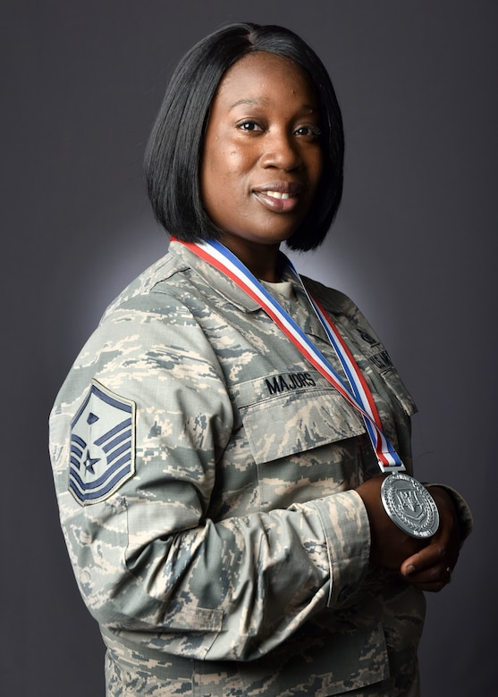 U.S. Air Force Master Sgt. Simorrah Majors, 363rd Intelligence, Surveillance Reconnaissance wing first sergeant, poses for a portrait at Joint Base Langley-Eustis, Virginia, May 9, 2018.