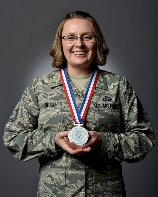 U.S. Air Force Senior Master Sgt. Melissa Beam, , Air Combat Command Air Force Specialty Manager, poses for a portrait, at Joint Base Langley-Eustis, Virginia, May 3, 2018.